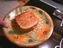 サンドイッチを作ります。ベーコン挟んでフライパンで焼く