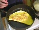 朝食を作ります。オムレツとフレンチトースト