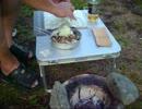 【適当に】河原でサンマの蒲焼丼と棒寿司を作る。2012.9.3