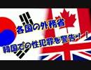 【各国の外務省】 韓国での性犯罪を警告!!