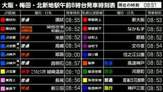 大阪駅の朝ラッシュ時刻表を全部ひとまとめにしてみた