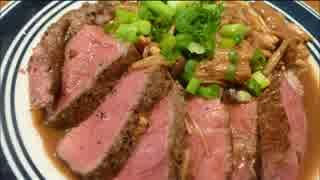 アメリカの食卓 441 肉の日だしフィレステーキをキノコソースで食す!