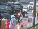 【沖縄の声】名護市議・北谷町議が加担した暴行事件、雨でも抗議活動を欠かさない沖縄サヨク[桜H27/7/21]