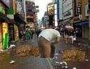 ハロウィンの翌日に汚れた街を掃除する先輩