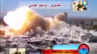 【シリア】 街中で地雷原処理車(爆導索)を使用