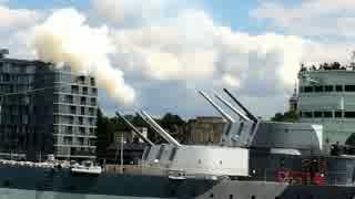 軽巡洋艦ベルファスト 6インチ三連装砲 空砲射撃