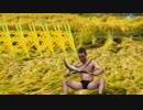 稲刈りをするゆうさく