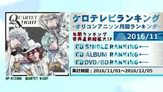 アニソンランキング 2016年11月【ケロテレビランキング】