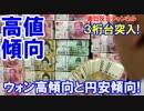 【韓国が円・ウォン為替に悲鳴】 ウォン高傾向と円安傾向!3桁台突入!