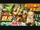 【炭火焼】こがし鶏皮ピーマンあぶり焼き!【BBQ修造】08
