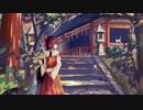 【お絵描き】霊夢、神社、鳥居、階段