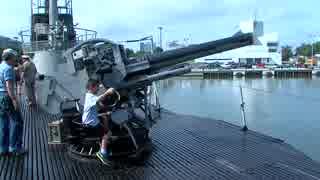 ガトー級潜水艦コッド 5インチ砲 空砲射撃