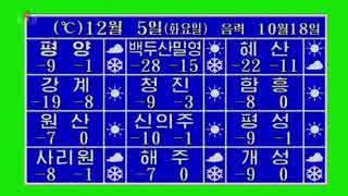 北朝鮮の天気予報(2017年12月5日・HD対応)