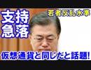 【韓国大統領の支持率が急落】 仮想通貨と同じだと話題!