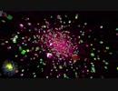【幾何学】丸まった空間で物体間に引力・斥力を働かせるシミュレーション
