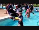 【鈴鹿サーキット:冒険プール】アドベンチャープールのメガキャノンや持参した水鉄砲で遊ぶあい!お出かけ 水遊び