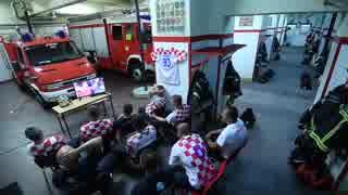 クロアチア代表の勇姿を母国の消防士たちが見逃す瞬間.Croatia
