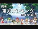 週刊東方ランキング 18年7月第3週 ~東方ニコ童祭SP(後編)