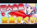 巨大金魚で金魚すくいしてみた!(・8・)