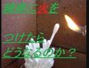 綿棒に火をつけて、どのように燃えるのか実験
