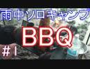 雨中ソロキャンプ BBQ #!