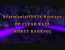 beatmaniaIIDX26 Rootage DP LEVEL1-12 CLEAR RATE WORST10(1/2)