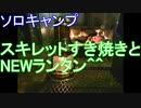 ソロキャンプ スキレットすき焼きとNEWランタン^^