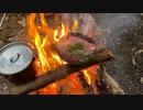 ソロキャンプ!焚き火で料理。 ステーキ