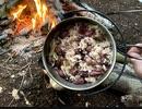 ソロキャンプ!焚き火で料理。ホタルイカの炊き込みご飯