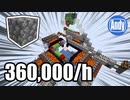 【Minecraft】毎時36万 全自動丸石製造機 アンディマイクラ (JAVA 1.15.2)