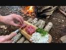 ソロキャンプ!焚き火で料理。 海鮮