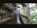 【生駒山麓公園】フィールドアスレチック 6番:丸太のかべ登りに挑戦するあい❤下りるのが大変ですが、頑張りましたwww