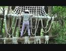 【生駒山麓公園】フィールドアスレチック 17番:❤丸太のかべをよじ登るあい❤おチビのママでは助けられませんwww