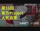 第16回東方Project人気投票音楽部門1~20位 アレンジメドレー