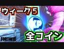 【フォートナイト】シーズン4ウィーク5緑・青・赤紫・金コイン