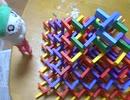 【ドミノ倒し】ドミノピラミッドを上から崩すだけの動画