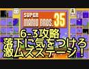 マリオ35解説攻略:6-3は高難易度ステージ!落下に気をつけろ!【スーパーマリオブラザーズSUPER MARIO BROSバトロワ】