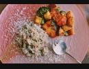 そば米のリゾット・鮭と野菜のハニーマスタード炒め