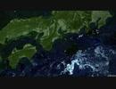 日本列島を離れ南を目指す四国