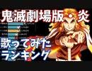 「炎」歌ってみた 再生回数ランキングの推移 20年10月-21年3月【劇場版『鬼滅の刃 無限列車編』主題歌】