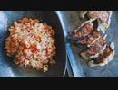 カリカリ梅と大葉とじゃこの炒飯・ホタテと高菜の餃子