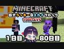 【マイクラ】巨大ラッキーブロック&スカイブロック100日間サバイバル生活part4【100Days/マインクラフト/Minecraft/ゆっくり実況】