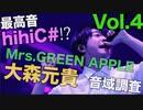 【最高音hihiC#!?】Mrs.GREEN APPLE 音域調査 Vol.4!【大森元貴】