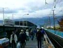 長野電鉄 旧村山橋上から新村山橋通過の列車を撮る
