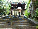 Japanese Crossdresser女装子 maria upskirt in階段the approach to a shrine stairs