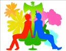 【手描き日/和】赤と青のアコーダンス【女性向け】