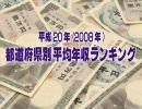 【平成20年(2008年)】 都道府県別平均年収ランキング