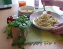 (5)初めて『きのことニンニクのスパゲティ』を作る