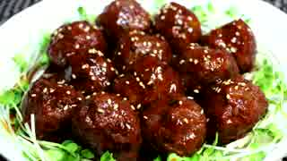 肉団子甘酢♪ ~たっぷりの大葉とレンコン