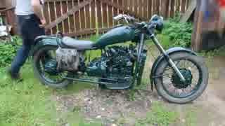 親父がバイクにヤンマー3気筒ディーゼルエ